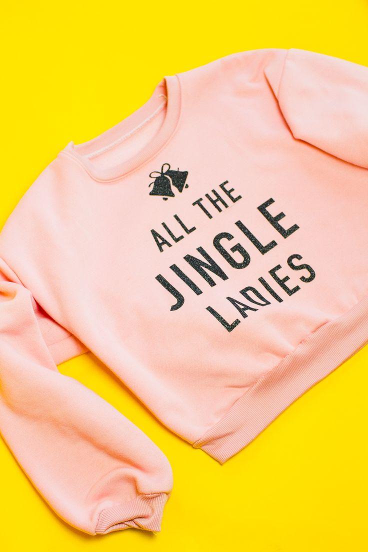 DIY slogan 'ALL THE JINGLE LADIES' Christmas jumper.