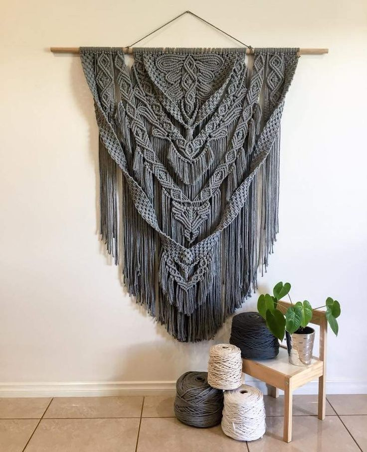 beautiful gray macrame large macrame wall hanging on wall hanger id=89388