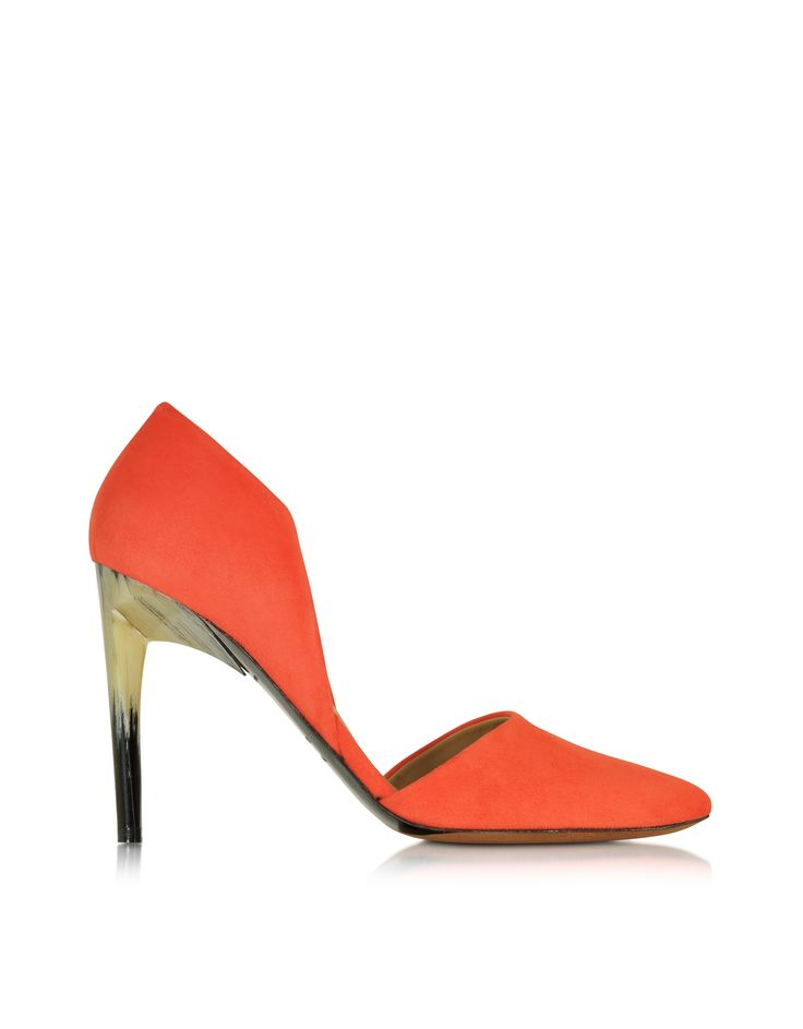 Orange Suede Pump crafted in sumptuous velvety suede, has a bold modern vibe with warm natural undertones for a knock out look day or evening. Featuring d'Orsay design, pointed toe, dense coated plastic high heel and leather sole. Signature box and dust bag included. Made in Italy.