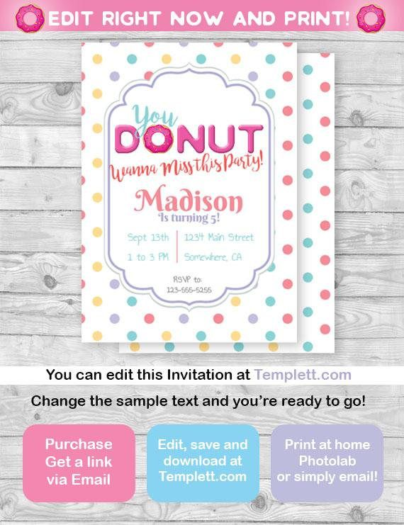 Customizable Donut Invitation Customize Editable Printable Digital Download Birthday Bash Polka Dots Party