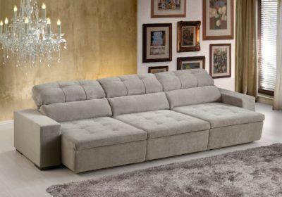 sofa retratil com encosto reclinavel 3 lugares