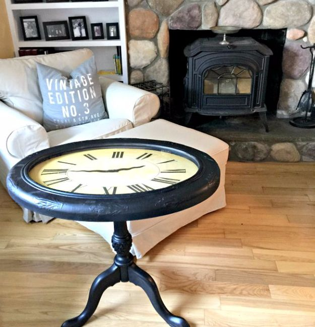 Upcycled Furniture Projects - Repurposed Clock Table - Repurposed Home Decor and Furniture You Can Make On a Budget. Easy Vintage and Rustic Looks for Bedroom, Bath, Kitchen and Living Room. http://diyjoy.com/upcycled-furniture-projects