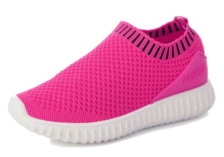 iDuoDuo Kids Breathable Knit Mesh Trainers Super Lightweight Walking Running Shoes Rose Red 9 M US Toddler. Unisex kids running shoes with slip on closure, easy to pull on and off by themselves. Featuring classic solid color design with breathable and comfortable single layer knit mesh material. Anti-collision reinforced toe and back design, wearproof and take care of kids' feet. Breathable and comfortable mesh lining brings kids better wearing experience. Super soft and light sole...