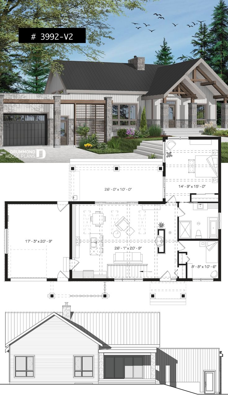 3 Bedroom Small Modern Cape House Plan, Garage, Cathedral