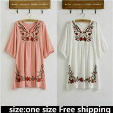Мода горячая распродажа старинные 70 s этническая цветочные вышитая хиппи boho мексиканская слоеного slv блузка платье один размер бесплатная доставка cs52(China (Mainland))