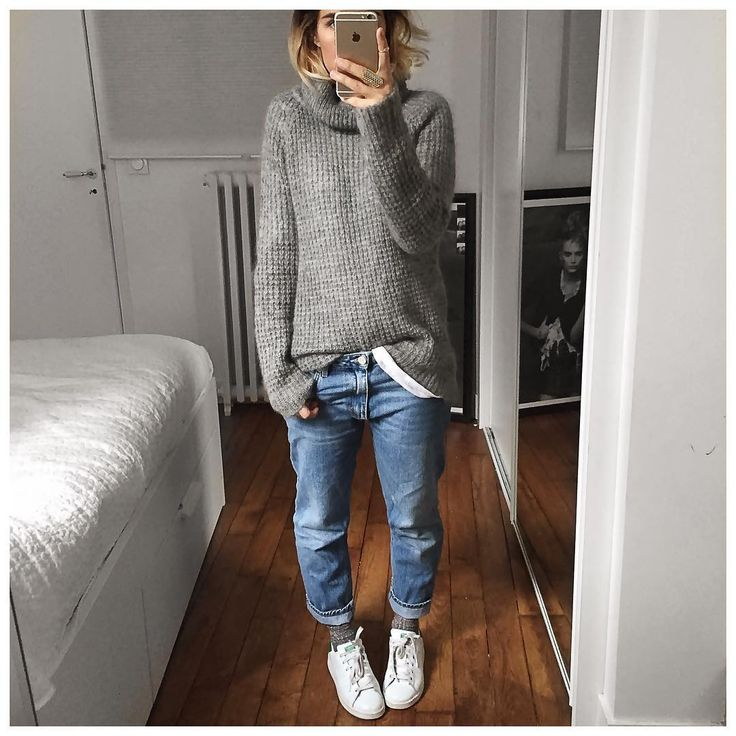 A la cool : pull grosses mailles gris, jean boyfriend, Stan Smith