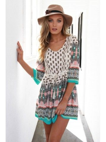 Coyote Dress- Beige Print/HUNTED DREAMS