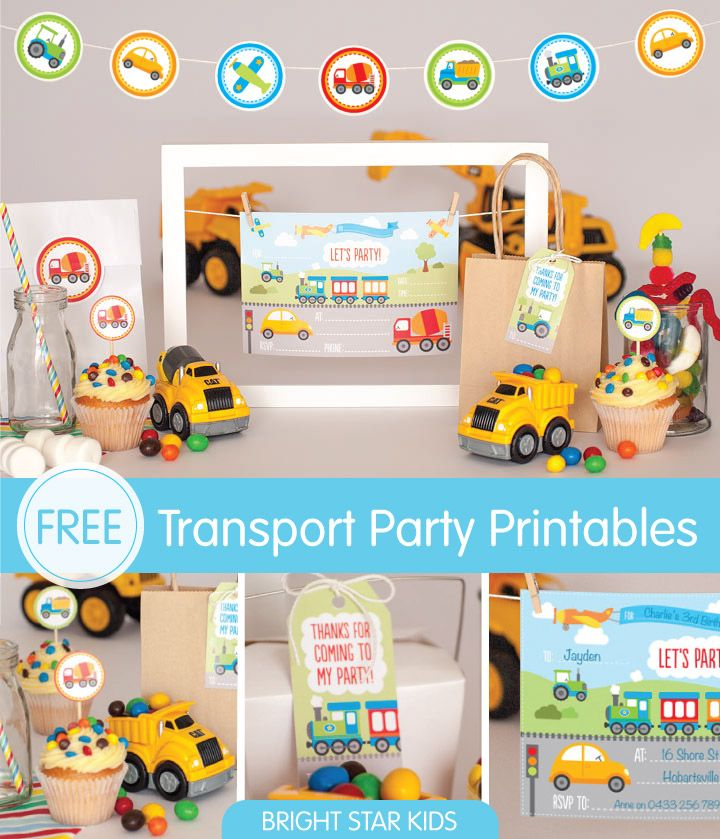 Thinking about having a transport themed party? Download our free Transport Party Invitation Printables today. For more free printables and other fun stuff, visit https://www.blog.brightstarkids.com.au/