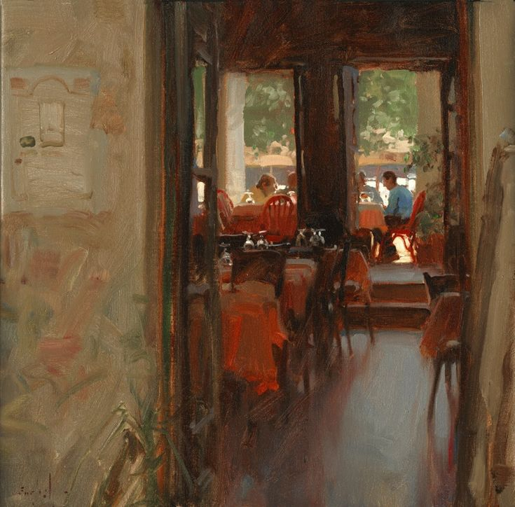 "Through the Back Door / Kim English 18x18"" oil SOLD"