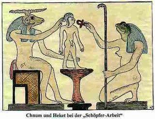 Mısır mitolojisindeki yaratıcı tanrı Khnum, çömlekçi çarkında, insanı yaratırken, eşi tanrıça Heket ise, anne rahminde düşmeden önce, ona can katıyor. Bu sahneye, Kitabı Mukaddes'in Yeremya bölümünde, üstü kapalı olarak değinilmektedir.   Doğuş ve yeniden doğuşla ilişkili hayvan olarak, kurbağa simgeciliği, antik uygarlıklardan, Eski Mısır'a, Eski Roma'ya ve diğer kültürlere dayanabilir. Kurbağa, yeniden doğuşun veya yeniden dirilişin yanında, tutulan bir doğurganlık simgesiy