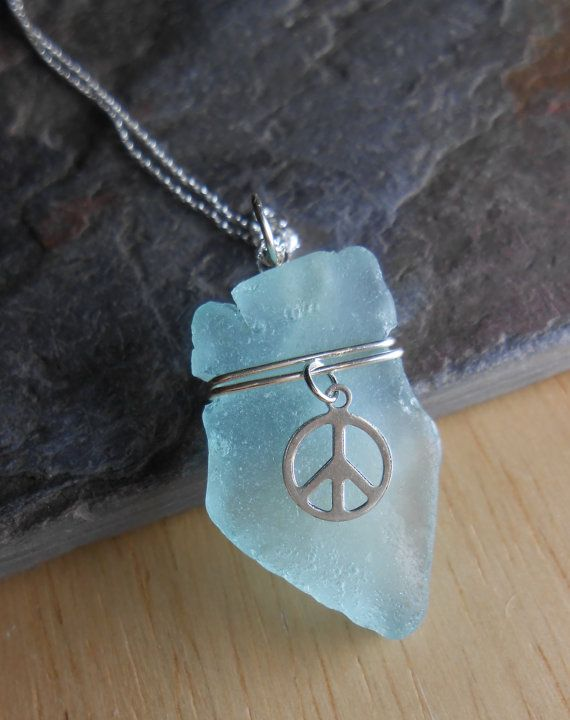 Sea Glass Jewelry Beach Glass Necklace HIPPIE by SeaFindDesigns, $20.00