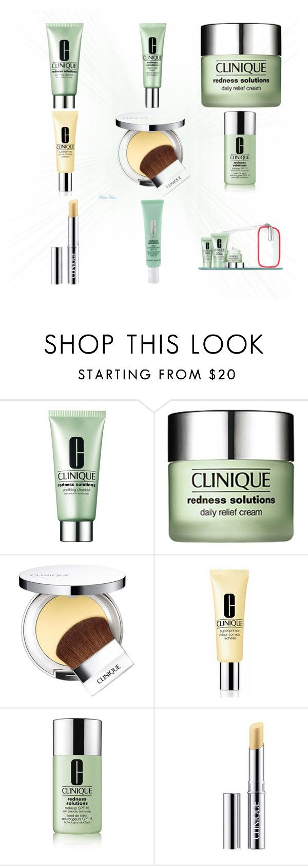 """""""Clinique Redness Solutions"""" by moon-blue ❤ liked on Polyvore featuring beauty and Clinique"""