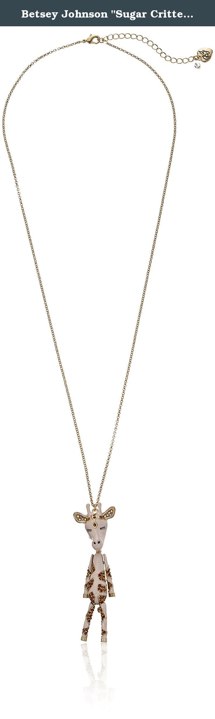 """Betsey Johnson """"Sugar Critters"""" Giraffe Long Pendant Necklace, 28"""" + 3"""" inches. Items that are handmade may vary in size, shape and color. Made in China."""