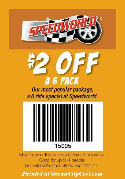 #CoolCoupons - Speedworld $2 OFF a 6 Pack... #oceancitycool