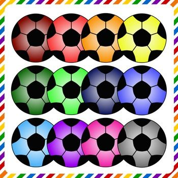 Soccer balls clip art in assorted colors! Perfect for team flyers, color recognition, and so much more! The are 12 high resolution, .png file images that are great for layering and enlarging. Colors included: -Dark red-Red-Orange-Yellow-Dark Green-Green-Navy Blue-Royal Blue-Light Blue-Purple-Hot Pink-Gray**Please note**: There is NO black and white soccer ball in this package!