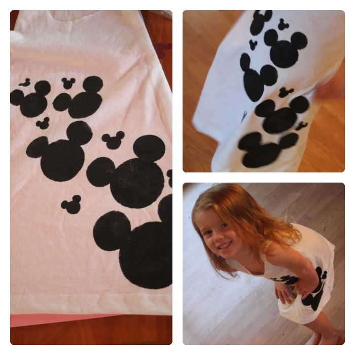 DIY Disney Tshirt Dress. Tutorial isn't great, but I love the mickey mouse design. For our trip!!