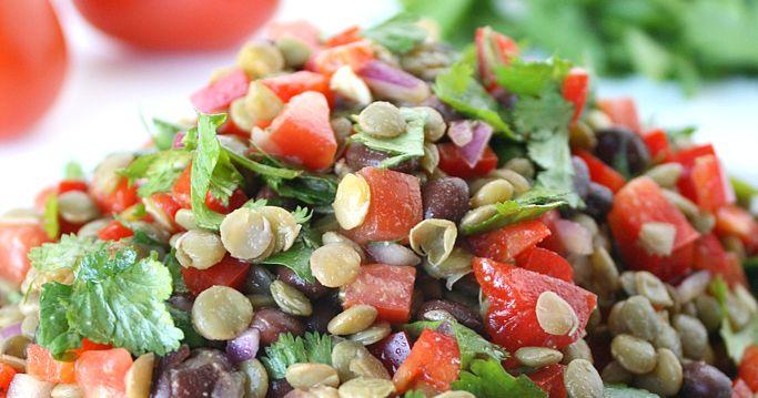 Black bean lentil salad with cumin-lime dressing (vegan and gluten-free)