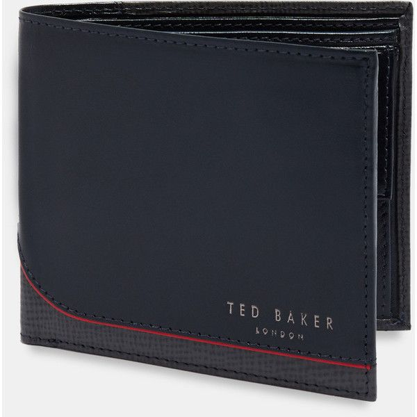 Ted Baker Bi-fold leather wallet with coin pocket ($99) ❤ liked on Polyvore featuring men's fashion, men's bags, men's wallets, navy, mens bifold leather wallet, bi fold mens wallet, mens coin wallet, mens bifold wallet and mens leather coin wallet