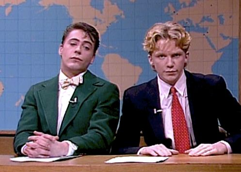 Robert Downey Jr. and Anthony Michael Hall..SNL. 1985.
