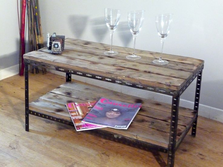 table basse chevet metal bois industriel 1 table bois. Black Bedroom Furniture Sets. Home Design Ideas