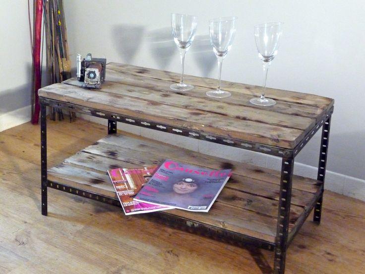 Table basse chevet metal bois industriel 1 table bois - Table basse metal industriel loft ...