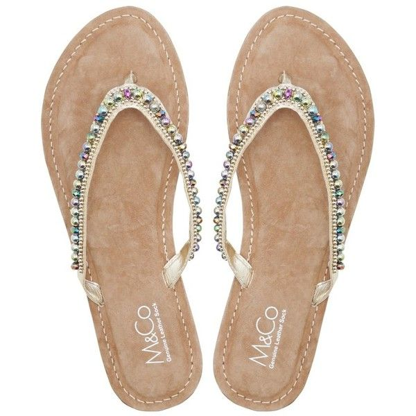M&Co Coloured Diamante Bead Flip Flops ($32) ❤ liked on Polyvore featuring shoes, sandals, flip flops, gold, beaded evening shoes, beaded shoes, gold flip flops, sparkly sandals and special occasion shoes