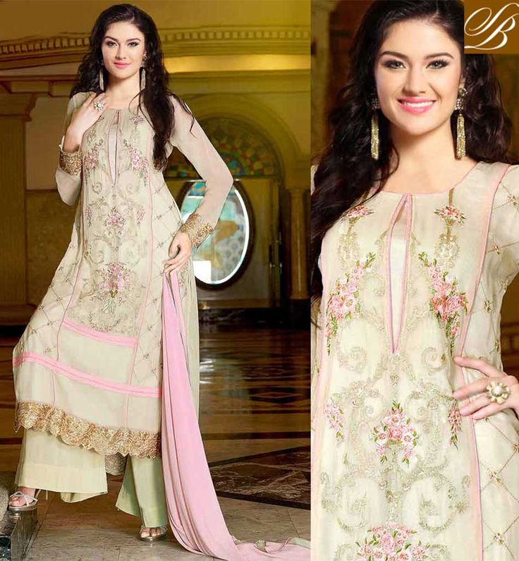 PUNJABI SUIT DESIGNS LONG KAMEEZ TRADITIONAL DRESS DESIGNS LATEST FASHION STRAIGHT CUT STYLE PARTY WEAR DRESS WITH ZARI, EMBROIDERY AND LACE BORDER ENHANCEMENTS