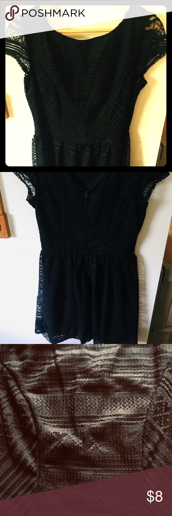 Little Black Dress Size 13 Little black dress. Knee Length. Only worn once. Delicate knitted design with a black slip underneath. Great for a date nig…