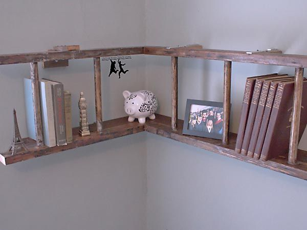 Who said a ladder has to stand up straight? :: Horizontal Ladder Bookshelf
