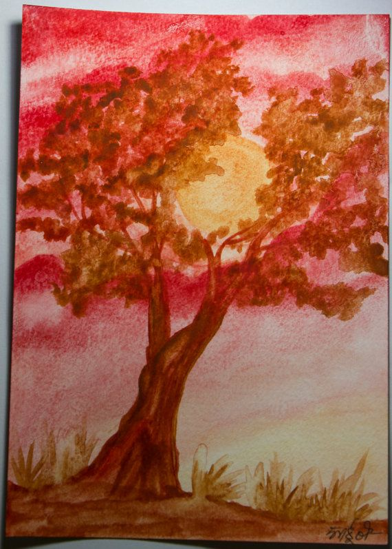 Tree in the Sun  Handmade watercolor painting by RunePineStudio