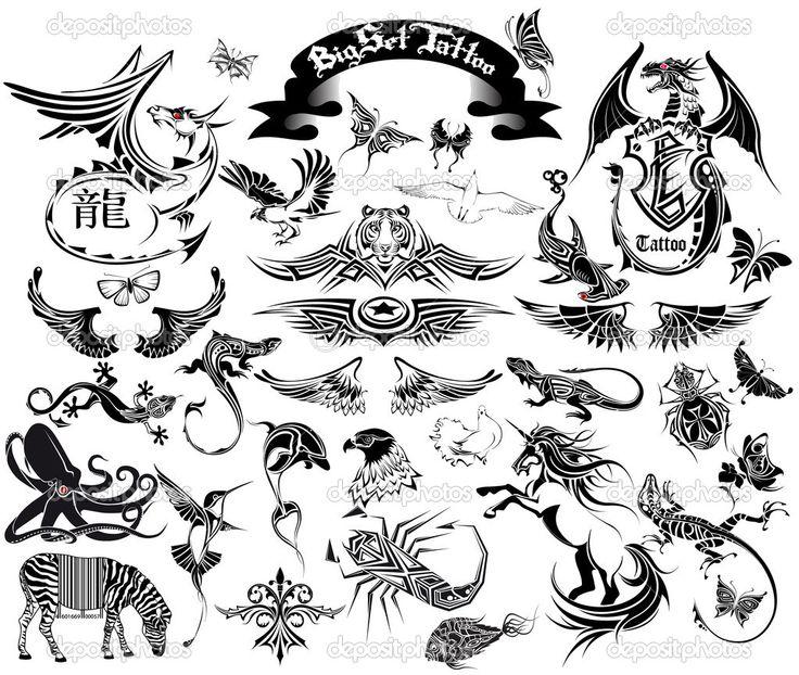 Большая татуировка набора - Векторная картинка: 5360961
