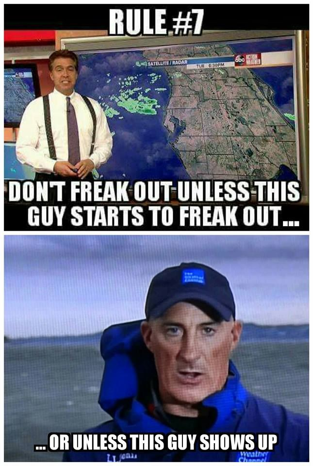 Rules for Florida. Actually, these rules apply for Kansas, too! (Yeah, we've seen Weather Channel vans and Jim Cantore in Wichita before.)
