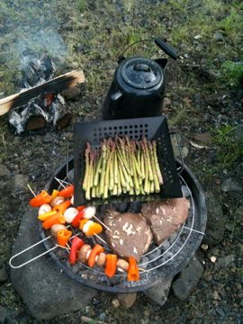 So need fresh, grilled veggies when on vacation at the beach.  I want this handy pan the asparagus is in.