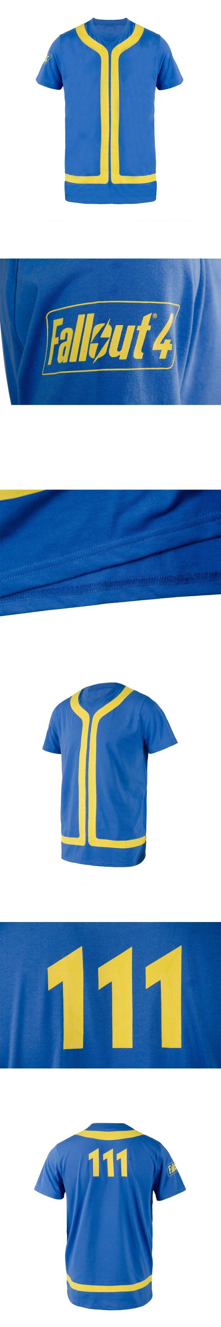 Summer Shirt Fallout 4 T shirt Vault 111 Cosplay Summer Blue Short Sleeve T-shirt For Men