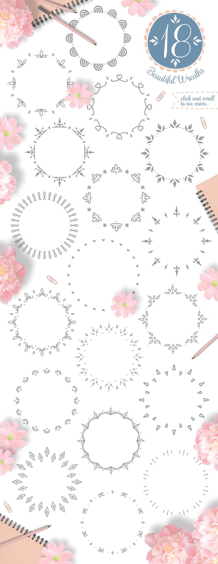 Pretty Little Things/ Decoration Kit by Euonia Meraki on @creativemarket   ornament and decoration toolkit in one single digital instant download. Beautiful wreath for various occasions.
