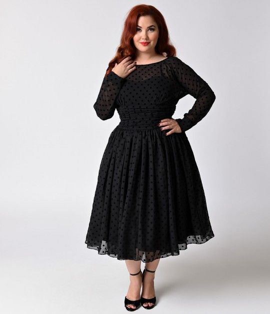 Preorder -  Unique Vintage Plus Size Black Dotted Long Sleeved Dita Swing Dress
