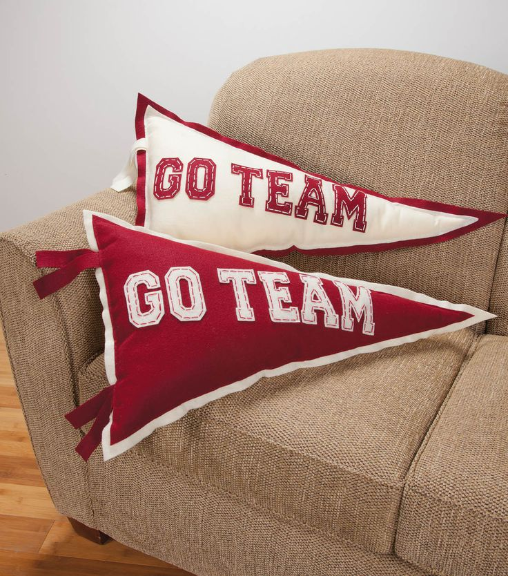 Support your favorite team with these pennant pillows! #sewjoannTeam Pennant, Pennant Pillows, Crafts Projects, Boy Rooms, Craft Projects, Throw Pillows, Diy, Boys Room, Man Caves