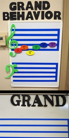 """GRAND BEHAVIOR - We have all seen the """"NOISE"""" post on Pinterest - Change NOISE to GRAND and add a behavior chart!  Add/Remove letters based on class behavior (bottom pic).  Removing a letter from the whiteboard is a huge visual that all students notice without you having to use your voice.  As music teachers – we all know our voice is precious!  If they have all the letters at the end of class they go up on the chart (top pic).  Middle C & Top = Incentive!  #music #education #musiceducation"""