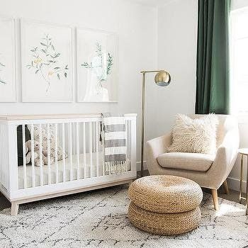 White and Green Nursery with Gold Accents