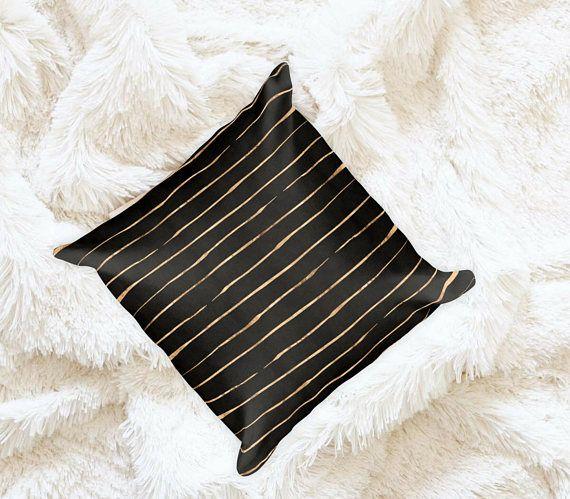 Rose Gold Striped Throw Pillow | 18x18 Square Pillow | Minimalist | 18x18 Decorative Pillow | Neutral Throw Pillows | Rose Gold | Stripes