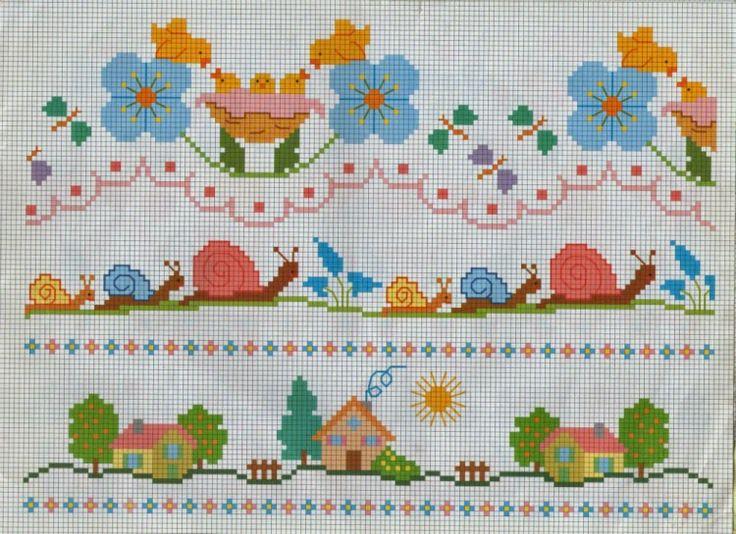 Χειροτεχνήματα: Κεντητές κουβέρτες για μωρά / Cross stitch baby blankets