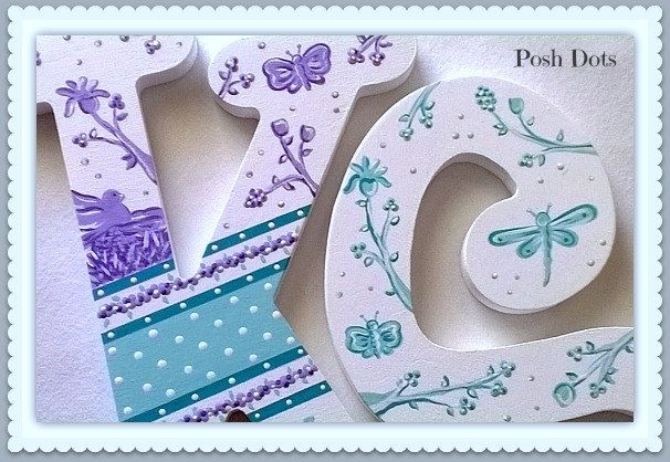 Painted Nursery Letters, Baby Girl Nursery Decor, Toile, Personalized Name, Wooden Hanging Letters, Wall Letters, Priced Per Letter by PoshDots on Etsy