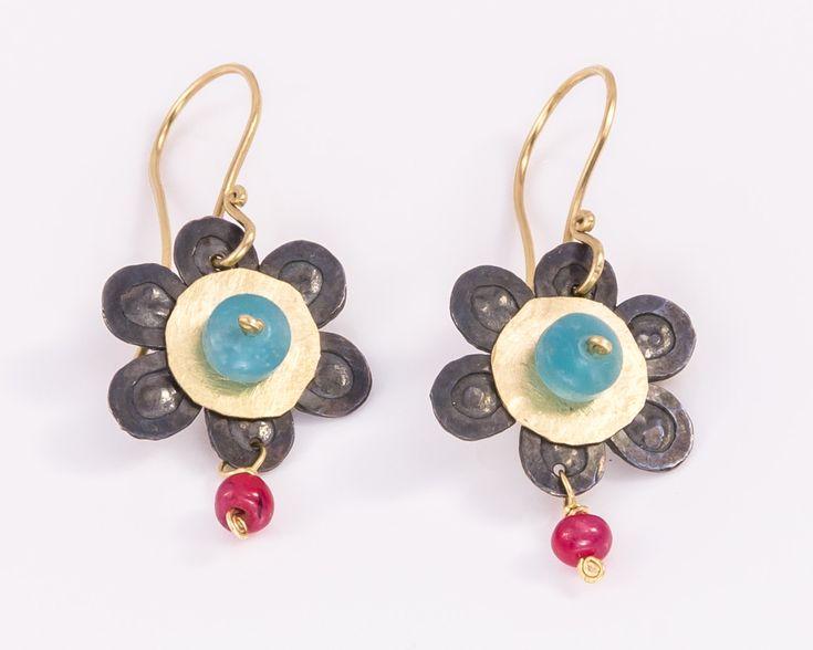 Oxidyzed silver flower earrings - Multicolor earrings by JackAssayagJewelry on Etsy
