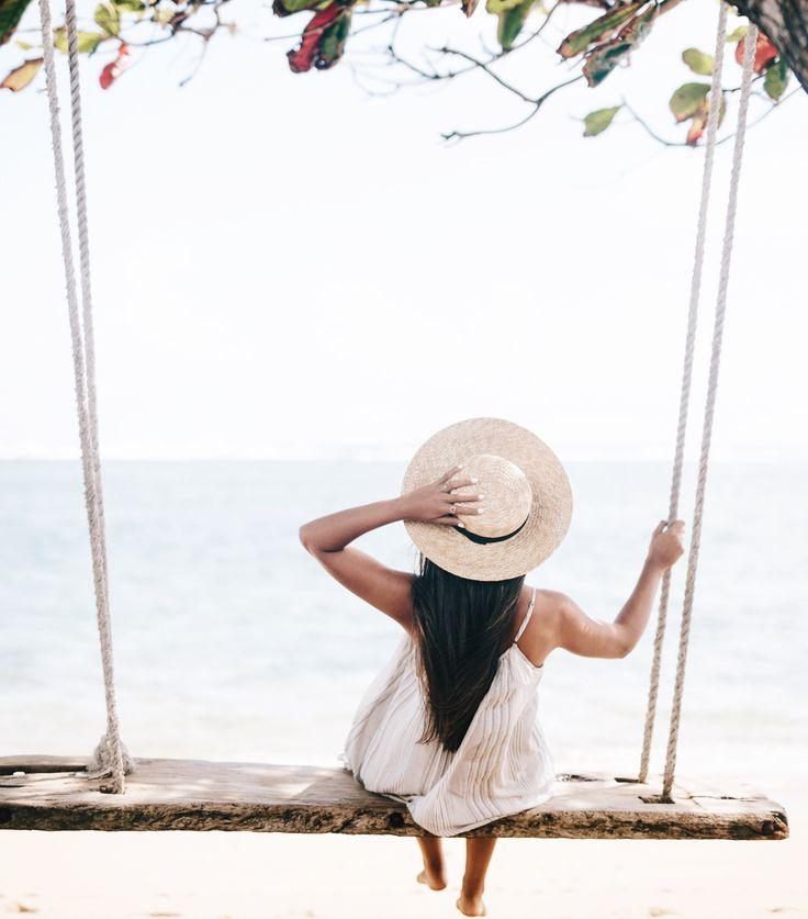 Beach Swing on Oahu | Beach Swing in Lai'e | Weekend Goals | Beach Swing | Dream Vacation | Straw Boater Hat | Travel Bloggers | Travel Blogger's Guide to Oahu via @elanaloo + elanaloo.com