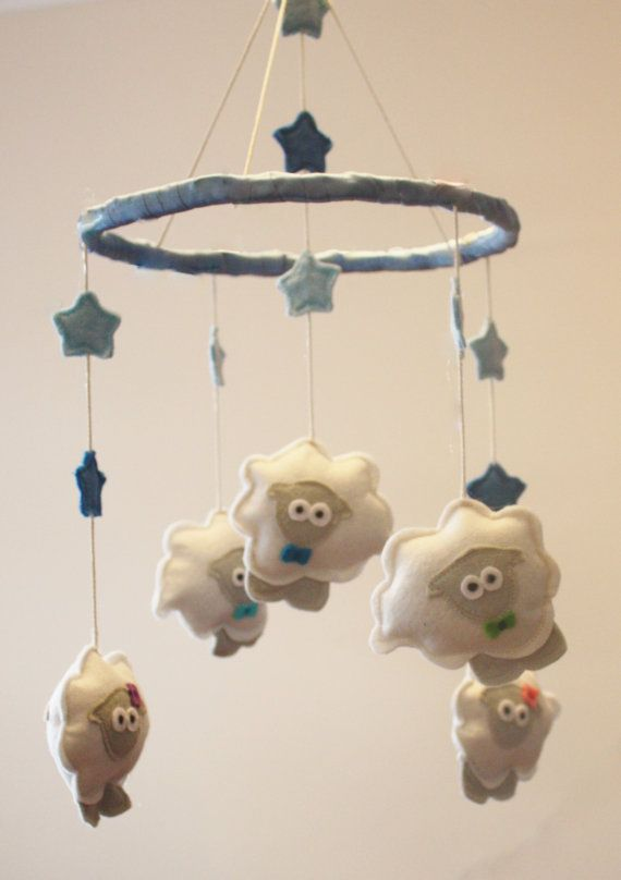 Counting Sheep Cot Mobile Baby room decor by ButtonOwlBoutique, £40.00