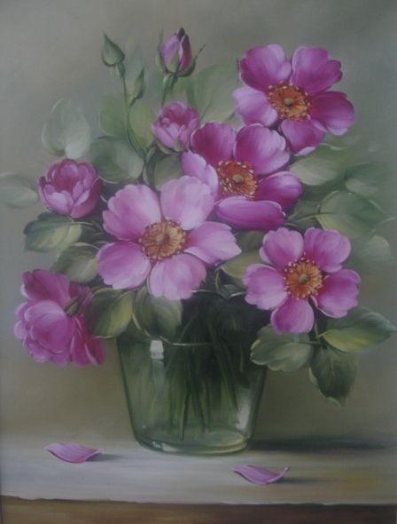 Pintura a Óleo Sobre Tela - Eduardo Mecenero: Rosas Silvestres