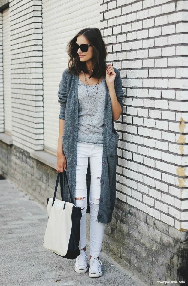 ripped white jeans with grey detailed shirt and grey coat - normcore style - white sneakers