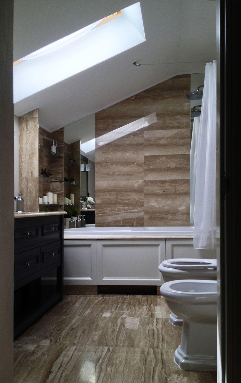 Санузел и ванная комната объединены в одно пространство, скатная крыша придает геометричность
