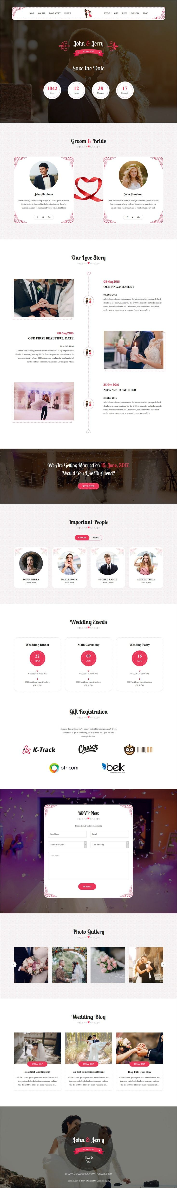 John and Jerry is clean and modern design 3in1 responsive #WordPress theme for #wedding events website download now > https://themeforest.net/item/john-jerry-a-wordpress-wedding-theme/19852079?ref=Datasata