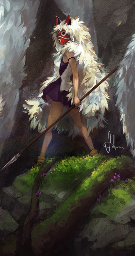 einiv:  Princess MononokeHere's a zoomed in version of San from the previous post I uploaded. Check out the updated detailed version on my deviantart.Full picture:http://einiv.tumblr.com/post/112414059001/the-wolf-clan-princess-mononoke-i-am-finally